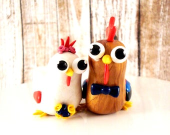 Chicken Wedding Cake Topper Rooster and Hen Bride and Groom Rustic Wedding Decoration Rustic Cake Topper Chicken Cake Toppers