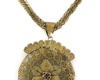 Yoruba Necklace Brass Braided Chain Africa 24 Inch 107035
