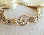 Gold Crystal Bridal Sash. Gold Rhinestone Wedding Dress Sash. Beaded Medallion Bride Sash. SERENITY