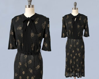 RESERVED 1930s Dress / Late 30s Early 40s Day Dress / Stretch Jersey Knit Dress / Black and Gold Floral