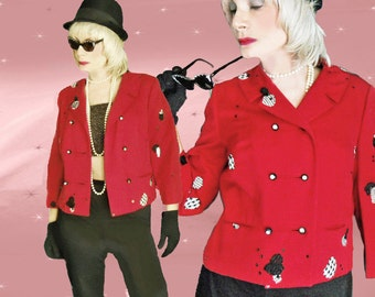 Vintage Don Loper Jacket - Red Suit Jacket - Womens 1950s Designer -Upcycled Vintage HOBO Chic not BOHO Chic! Classic turned ECLECTIC Retro