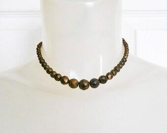 Brown Bohemian Choker Necklace, 40s Bronze Bead Choker, 1940s Short Necklace, Iris Bead Necklace, Brown Boho Choker, Bohemian Czech Beads