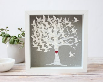 Song Lyric Tree / Wedding Gift for couple / Paper anniversary gift / Husband gift / Personalized Gift / One year anniversary / love birds