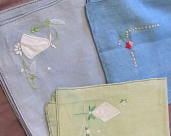 Hankie Lot of 3 Colored Vintage Antique Handkerchief Hankies Unused (Lot 18Z)