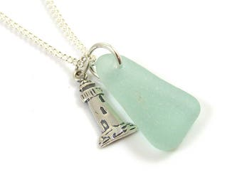 Seafoam Sea Glass, Sterling Silver Lighthouse Charm Necklace, READY TO SHIP, Beach Theme Jewelry