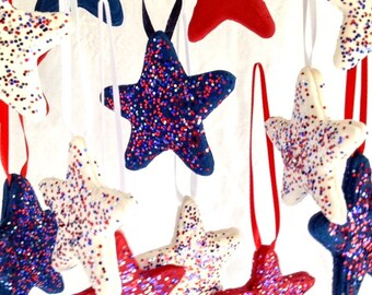July 4 Independence Day Red White & Blue Decorative Star Hanging Ornaments, Set of 15, Patriotic Party Decor, July 4 Decoration