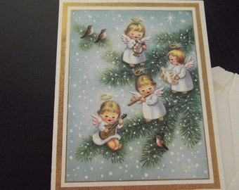 Two vintage Christmas Cards - Angels - from the 60's - envelopes included