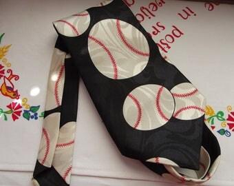 Vintage BASEBALL neck tie - necktie - desgined by A. Rogers