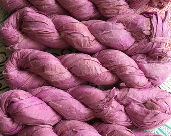 2 for 20 Peach Blossom Recycled Sari Silk Ribbon Yarn, Pink-Purple, 3.5 oz, 50 yards each, Upcycled, Recycled, Crochet, Knit, Jewelry