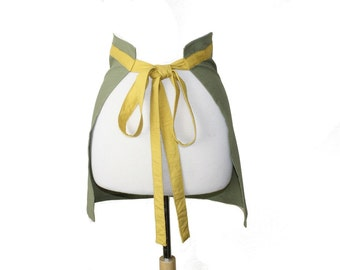 Simple Short Linen Apron in Olive