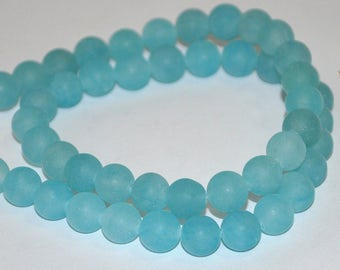 24 pcs 8mm Frosted Blue Glass Beads