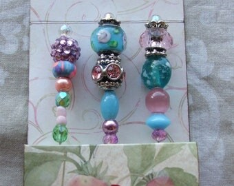 Decorative Pins, Blue & Pink - Scrapbook, Embellishment, Beaded Pins, Stick Pins, Cardmaking, Wedding