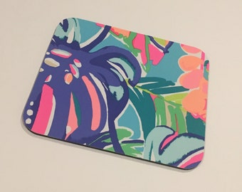 Mouse Pad  made with Lilly Pulitzer Signature Fabric Exotic Garden