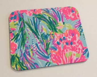 Mouse pad made with Lilly Pulitzer Fabric Muli Fansea Pants