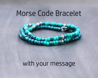 Morse Code Bracelet with Quote - Quote Bracelet with Message - I Am Enough Bracelet - I Am A Child of God - I Am The Storm - You Are Enough