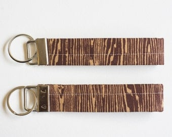 Brown Woodgrain Faux Bois Fabric Key Fob – Key Chain – Keychain – Wristlet – Key Fob Wristlet