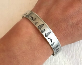 Wide Mountain Forest Hand Stamped Bracelet, aluminum cuff silver adjustable trees mountains hiking graduation women gift gifts