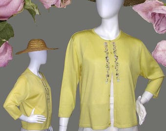 Gorgeous Canary Yellow 100% Silk Cardigan With Embroidery in Spring Colors 3/4 Sleeves Great Summer Sweater