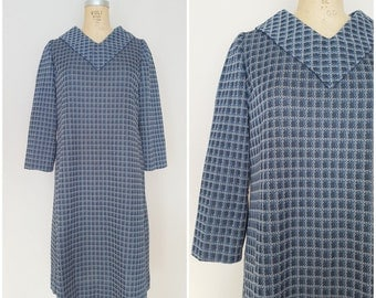 Vintage 1960s Sack Dress / Blue Plaid / Medium Large