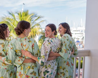 Ivory Bridesmaid Robes. Mint Bridesmaid Robes. Bridal Robe. Bridesmaid Pajamas. Bridesmaid Robes. Modern Kimono Jubilee Collection.