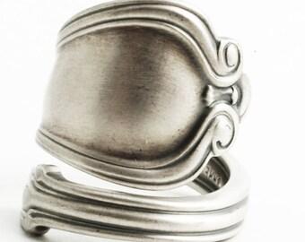 "Elegant Minimalist Sterling Silver Spoon Ring, Antique Gorham Spoon ca 1904 ""Norfolk"", Handmade Victorian Ring, Adjustable Ring Size (6439)"