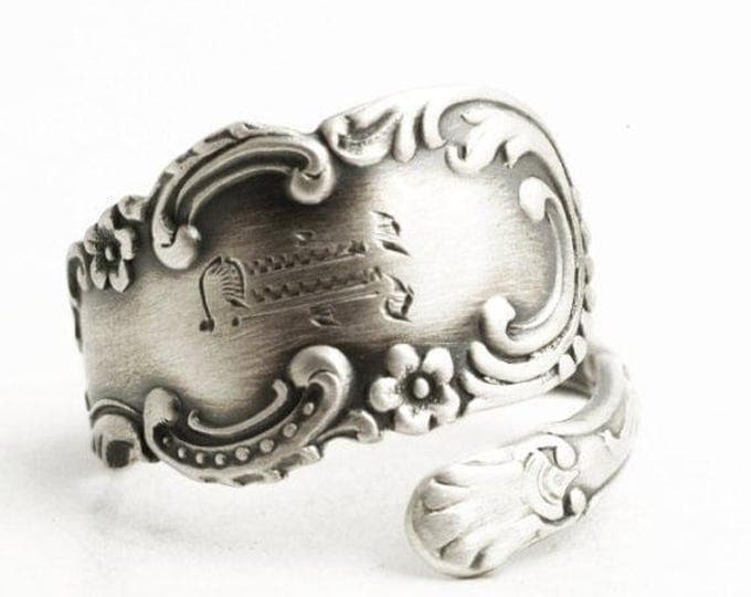 Petite Rococo Ring, Antique Sterling Silver Spoon Ring, Floral Alvin ca 1900, Engraved F, Silver Flower Ring, Adjustable Ring Size (6530)