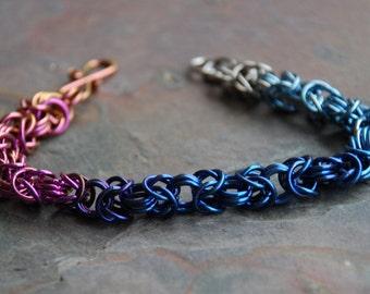 Niobium Ombre Tryzantine Chainmaille Bracelet