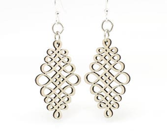 Calligraphy Dangle Earrings - Laser Cut Wood - Super light weight Earrings