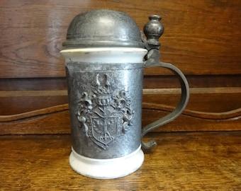 Vintage German Pewter Ceramic Tankard Stein Goblet Mug eagle crest drinking beer circa 1910-20's / English Shop