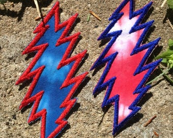 American Beauty 13 point lightning bolt handmade Grateful Dead patch, iron on, red/blue, tie dye, Jerry Garcia, hippie festival, upcycled