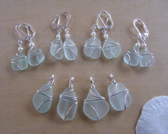 Reserved for Holly: Four Pair Blue Sea Glass Earrings and Necklaces