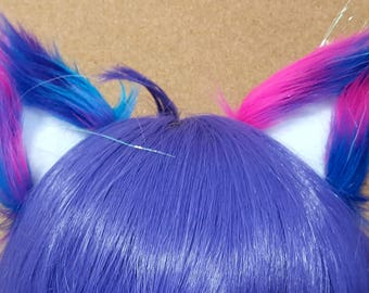 Sparkly Unicorn Galaxy and White Clip on Cat Ears OOAK