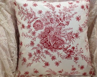 laura ashley pillow cover red and white floral toile rmantic floral print