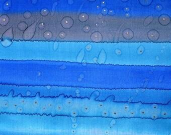 Silk painting Blue Landscape, wall art, home decor, wall decor, interior detail, blue painting on silk - Silk art, NOT FRAMED