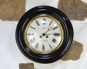 Antique French Wall clock Large glass black wood chiming wind up key round