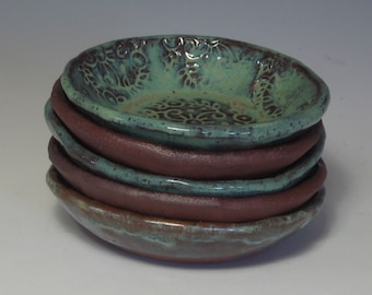 SWEET LITTLE DIPPING or prep bowls in textured red stoneware