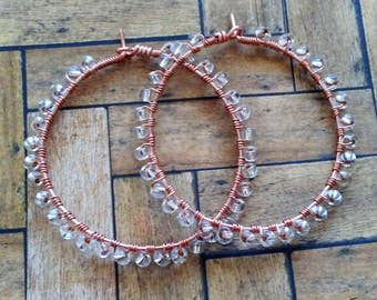 Rose Gold Wire Wrapped Hoop Earrings, Clear Seed Bead Earrings, Beaded Hoop Earrings, Rose Gold Earrings