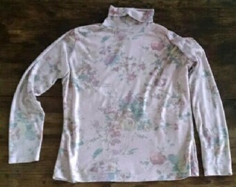 90s Vintage Pink Floral Turtleneck Top Stretchy Romantic Shirt