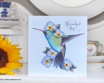 Hummingbird and Hydrangea tattoo alternative handmade Mother's Day Card