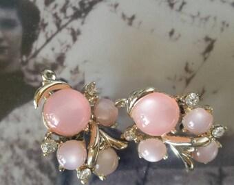 Coro pink moonglow clip on earrings 1950s