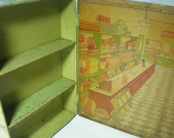 Vintage Tin Box Shop Store Scene with Shelving Advertisiing