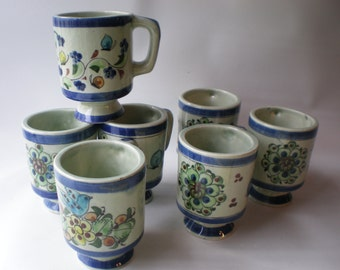 Vintage Set of 7 Handpainted Mexican Pottery Mugs
