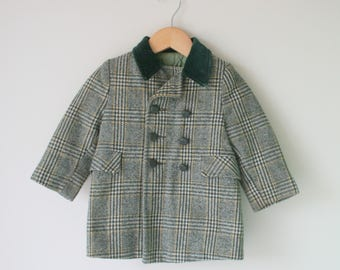 Vintage 1960s Green Plaid Girls Coat....size 2 3 girls....kids. children. classic. winter. vintage coat. vintage girls. velvet. wool.