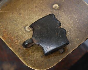 Antique brass connector, finding, dark patina
