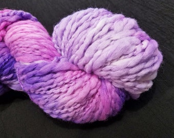 Thick 'n Thin Bulky Weight Hand Dyed Yarn - 4 ounces/125 yards - Pink, Violet and Lilac