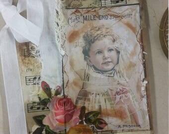 Vintage Bag Booklet,  Blank, Cotton