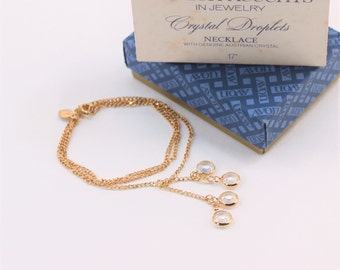 Vintage 1979 Signed Avon Austrian Crystal Droplets Goldtone Bezel Set Clear Glass Stone Figaro Chain Tassel Necklace in Original Box NIB