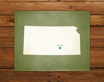 Customized Kansas State Art Print, State Map, Heart, Silhouette, Aged-Look Personalized Print