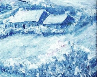 "Original art""First Snowfall of Winter ""  acrylic painting 10 x 8 ins,Snowscene, Ireland landscape, Snowfall wicklow"