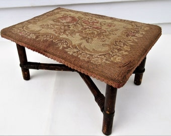 Antique Footstool | Bamboo Stool | Wooden Foot Stool | Tapestry Bench | Amall Wooden Stool